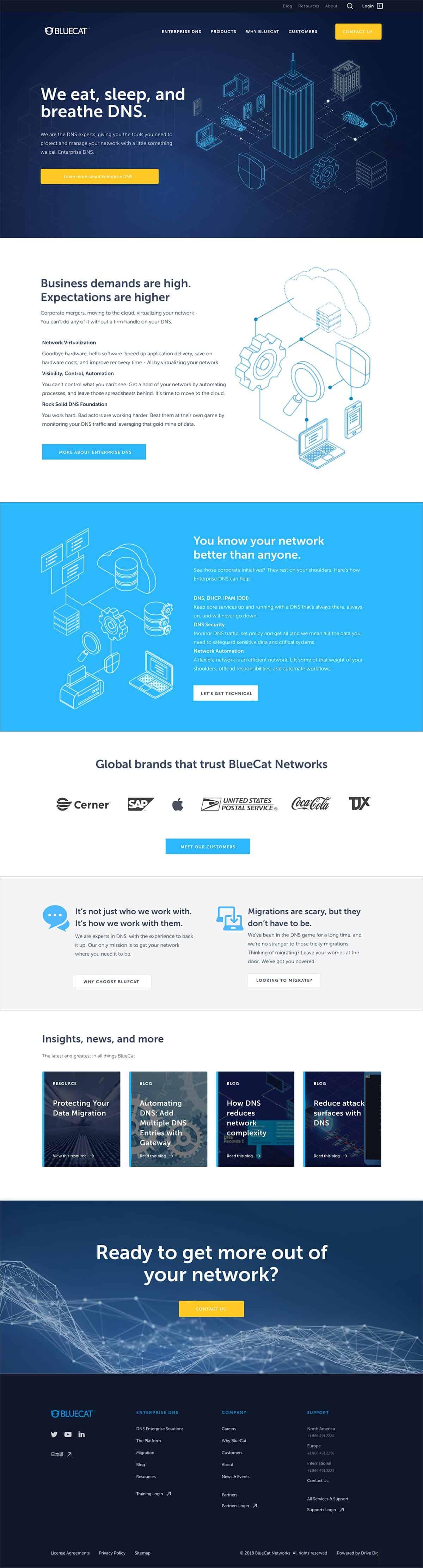 bluecat website design - Home Screen